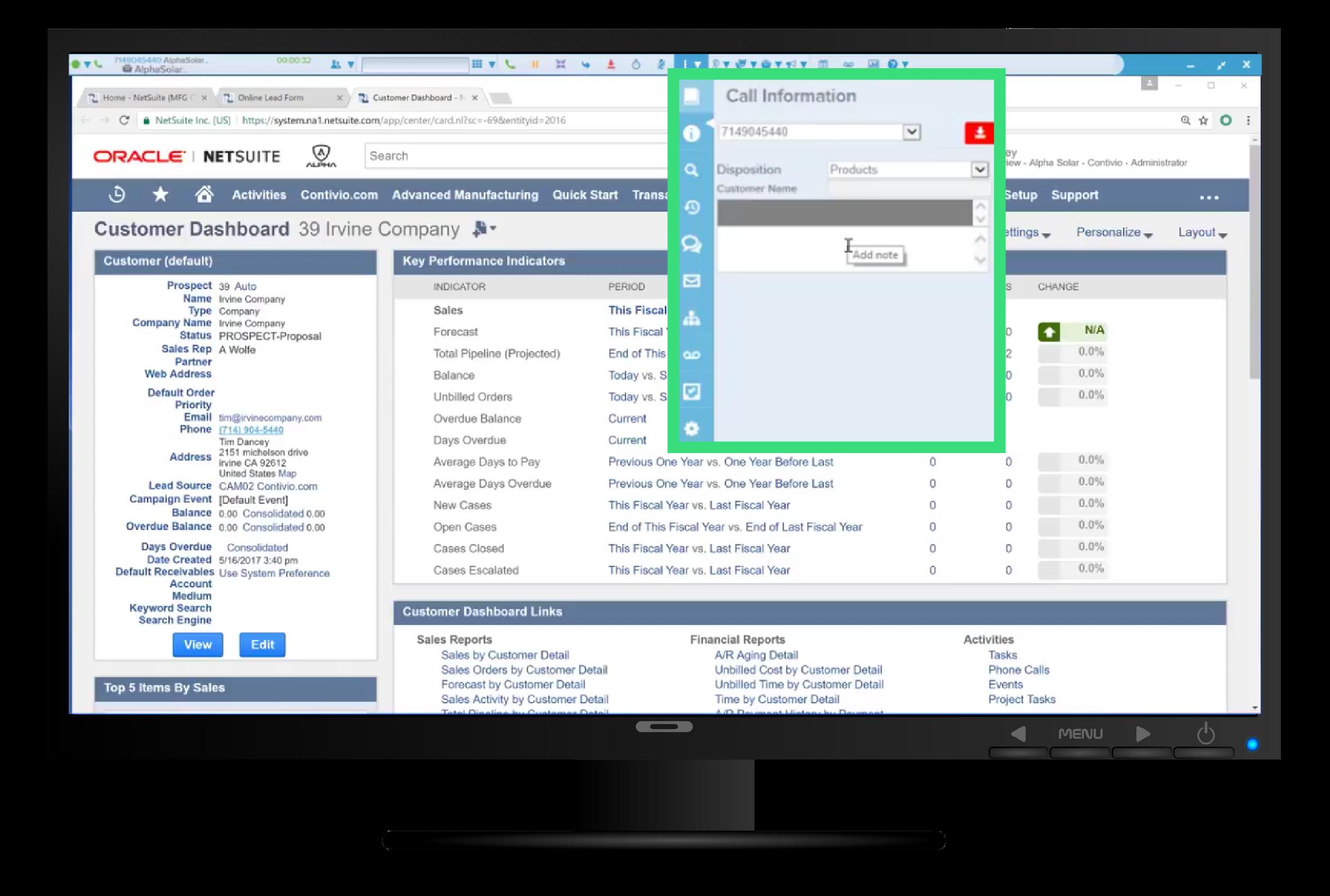 Contivio Contact Center toolbar